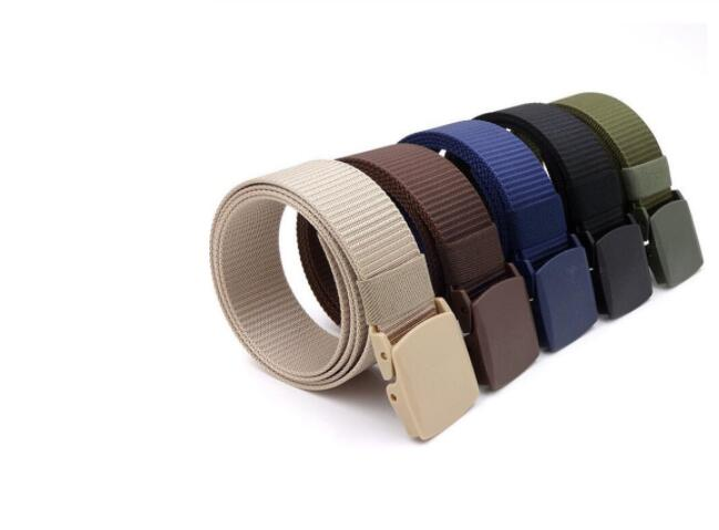 New outdoor belt men and women metal free youth canvas belt fitness tactics smooth button nylon belt