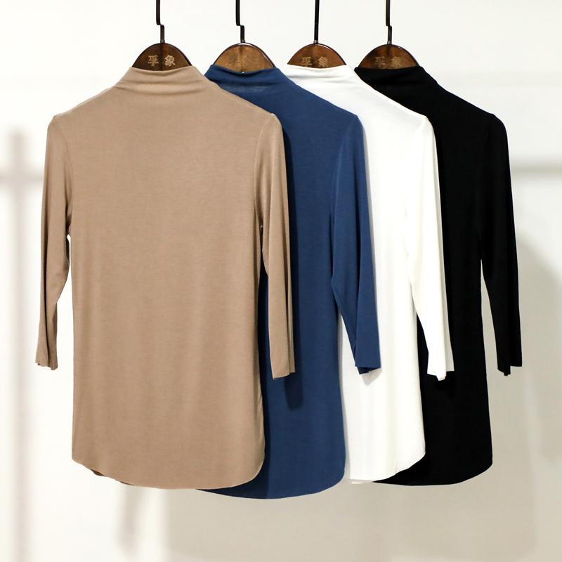 (用1元券)秋装2019年新款莫代尔半高领打底衫女七分袖面膜T恤内搭显瘦上衣
