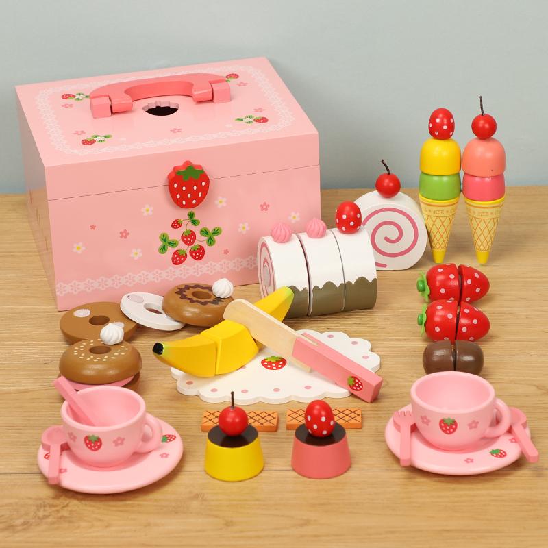 木制公主蛋糕草莓下午茶儿童女孩厨房过家家切切乐切切看玩具礼物手慢无