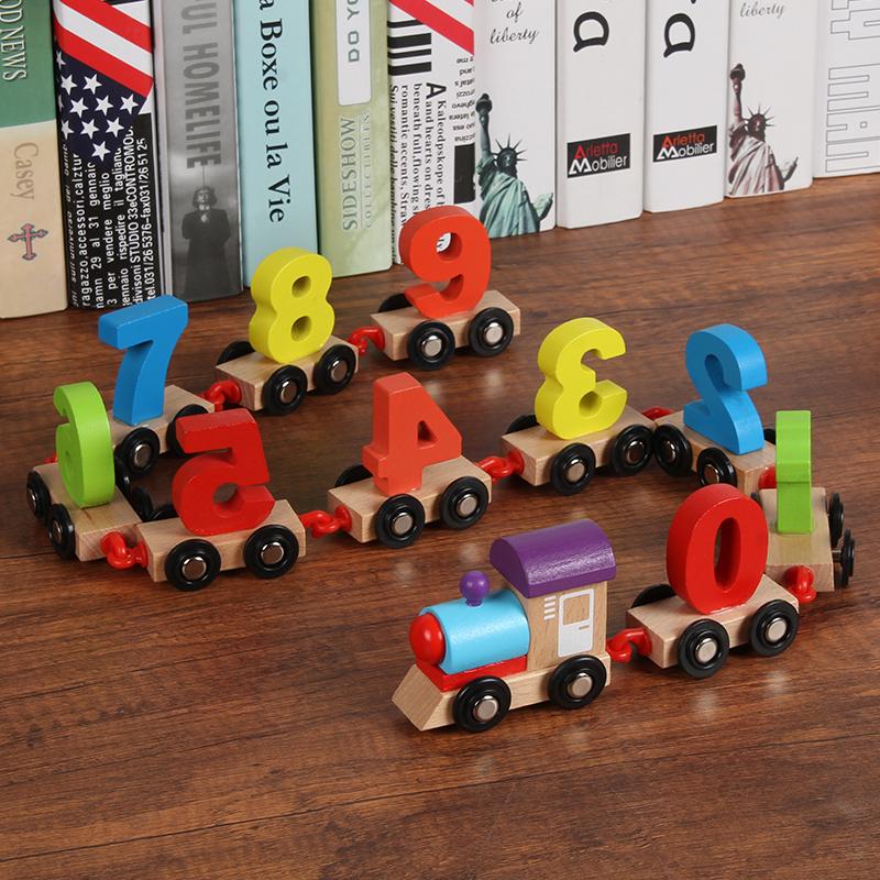 儿童木质数字小火车拼装组合早教木制拖拉智力积木玩具车1-3-6岁