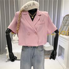 2020夏季新款韩版翻领宽松短款小西装外套女百搭纯色休闲短袖上衣