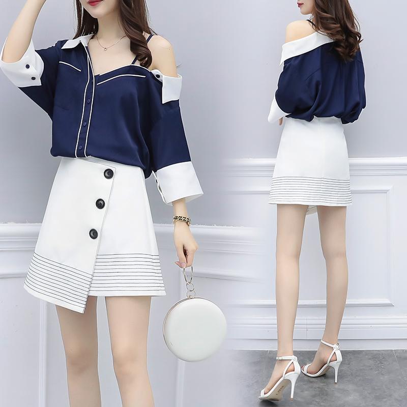 KTY9950#韩国斜露肩短袖衬衫半身短裙OL套装小香海军风