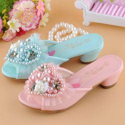 新款女童童鞋高跟公主鞋拖鞋凉鞋韩版儿童皮鞋水晶鞋珍珠单鞋爱莎