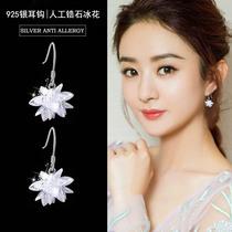新品韩国气质长款耳线925银针冰晶花仿锆石耳钉女耳环网红耳坠
