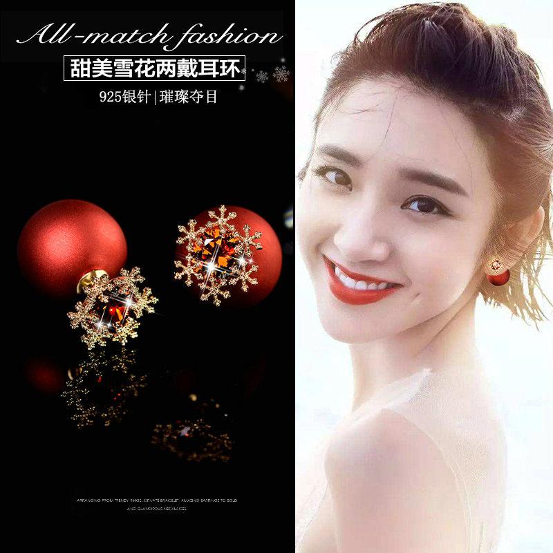 新品925银针圣诞红色雪花耳钉女前后双面耳环韩国气质简约耳饰品图片