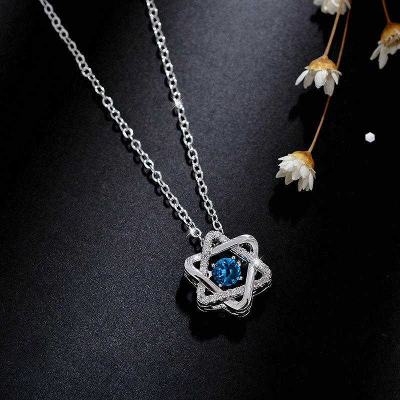 蓝钻六芒星项链女韩版锁骨森系简约个性星芒项链会跳舞的石头吊坠