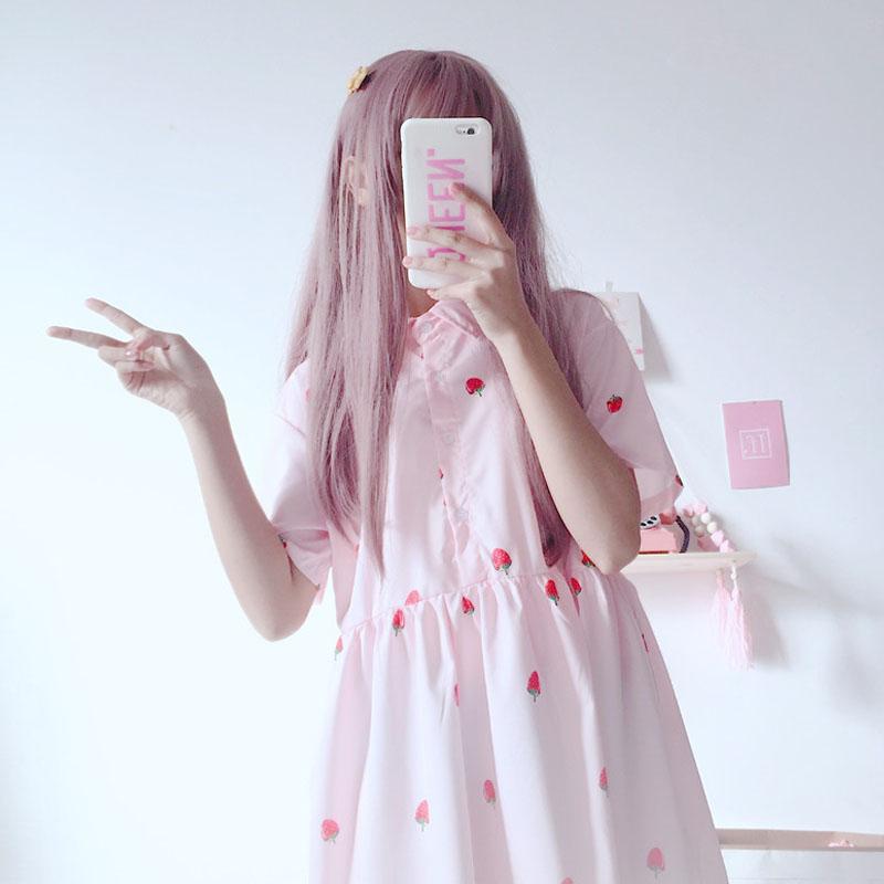 2018夏季新款女裝韓版學生日系小清新草莓裙子印花寬鬆雪紡連衣裙