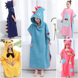 儿童浴巾斗篷纯棉带帽吸水洗澡毛巾家用男女可穿可裹速干浴袍宝宝