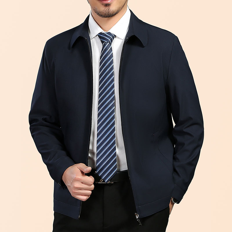 Autumn new single jacket ultra thin middle aged fashion brand coat lapel business mens dad casual top