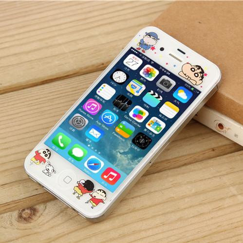 松羚 iPhone4代钢化彩膜苹果4s手机膜卡通浮雕膜4S防爆玻璃膜男女图片