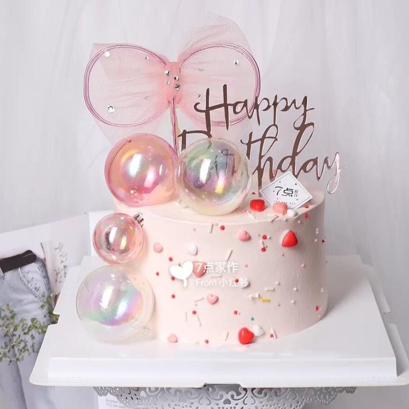 烘焙装饰ins 幻彩炫彩透明球圣诞球蛋糕装饰 生日派对甜品台插件