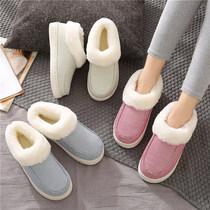 秋冬季加厚底加绒毛毛棉拖鞋男女居家用防滑外穿保暖月子棉鞋包跟