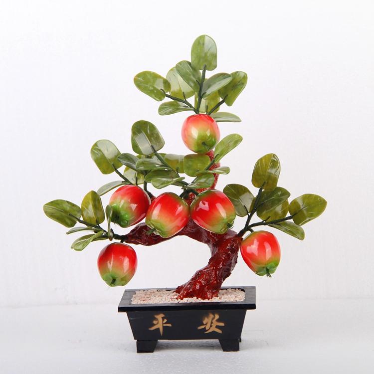出口玉石摆件 6个苹果树 玉器盆栽 客厅摆件工艺品 家居饰品 送礼