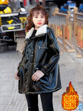 European Station Autumn and Winter 2019 New Long and Loose Furry Neckwear Coat Thickened and Cotton Slender Locomotive Female