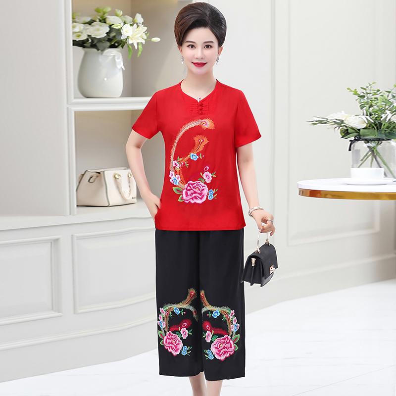 中年妈妈装棉麻两件绣花上衣加肥加大码200斤中老年女装夏装套装