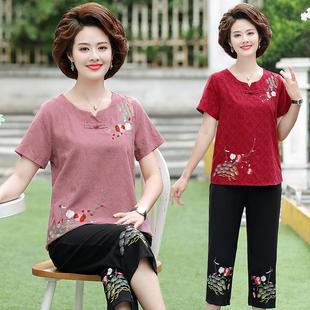 中年妈妈夏装两件套装中老年女装50-60岁纯棉麻短袖T恤奶奶宽松上