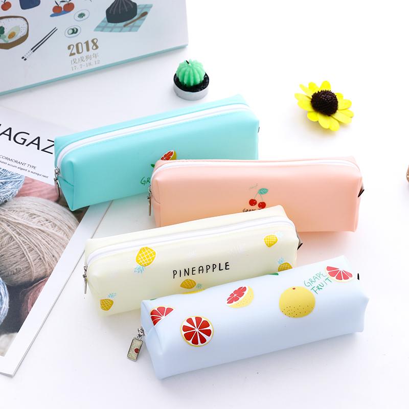 咔巴熊糖果色果胶笔袋小清新韩版创意铅笔袋学生简约儿童笔盒文具