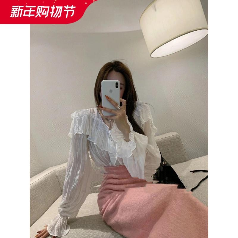South Korea dongdamen 2021 spring new Ruffle western style sweet top V-neck pleated thin versatile shirt