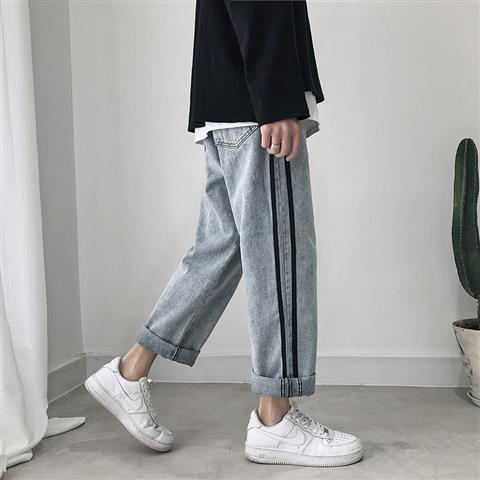 Jeans mens ins Hong Kong style spring and autumn fashion brand Harlem pants jeans stripe wide leg straight nine point PANTS YOUTH