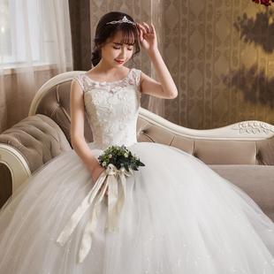 2019新款婚纱礼服新娘春季双肩V领显瘦大码齐地修身蕾丝款结婚白
