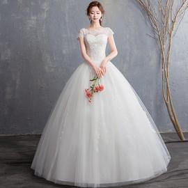 2019新款婚纱礼服一字肩齐地新娘结婚韩版立体花朵显瘦婚纱公主图片
