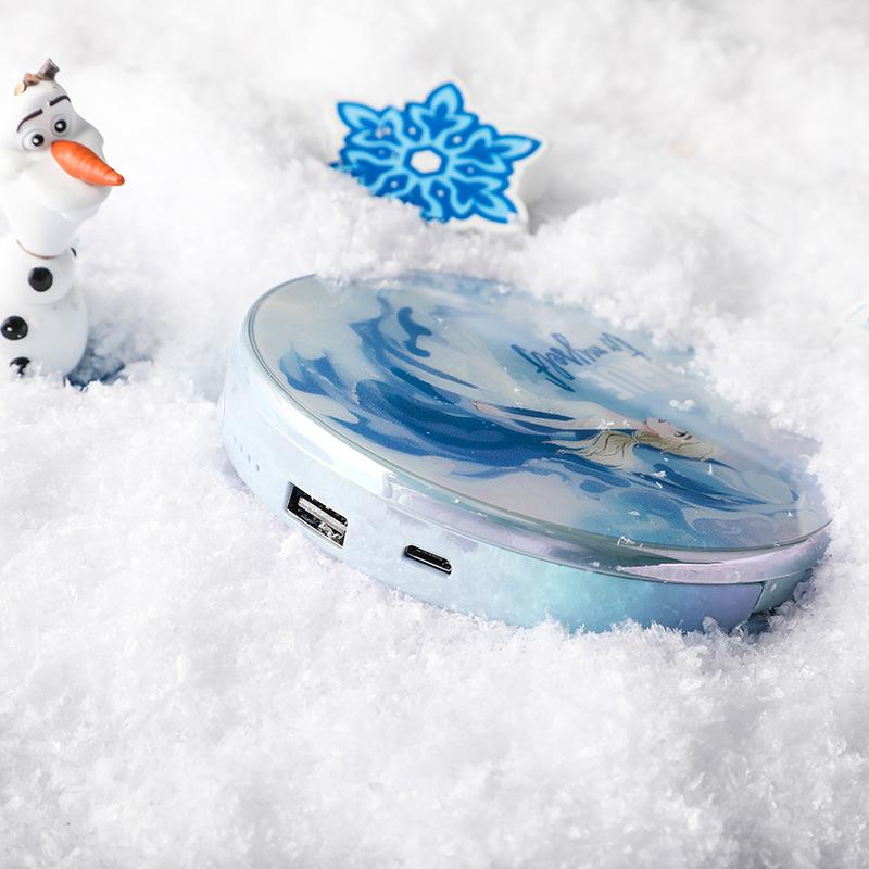正版迪士尼周边冰雪奇缘2电影 美颜化妆镜充电宝艾莎移动电源镜面