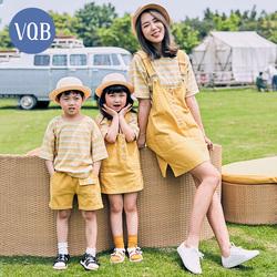 VQB高端亲子装一家三口夏装母子母女夏款2021新款潮四口夏季套装