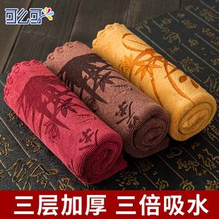 茶巾 吸水加厚棉麻功夫茶具配件茶台专用毛巾抹布中国风禅意茶布