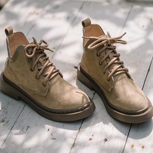 秋冬季旅游配裙子穿的靴子网红马丁靴女英伦风薄款潮ins小短靴潮