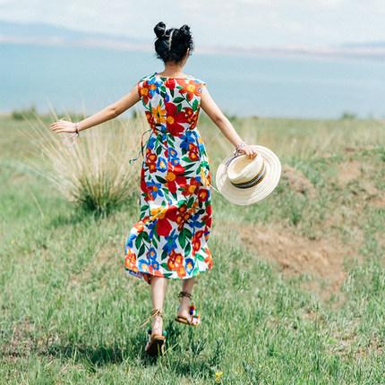 旅游拍照度假裙子矮小个子显高法式少女连衣裙夏可爱仙女裙花裙长