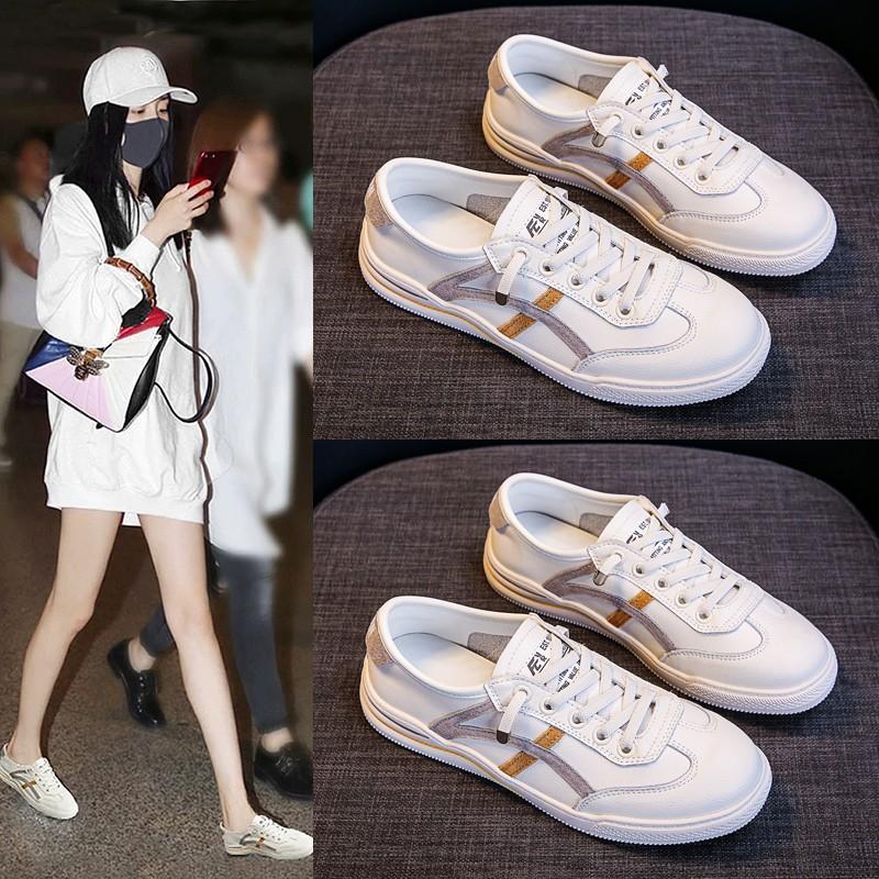 女运动鞋2020年春夏季薄款ins 百搭平底网红爆款韩版真皮小白鞋潮