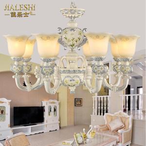 欧式吊灯 客厅灯复古田园卧室餐厅树脂简欧灯彩绘铁艺吊灯具简约