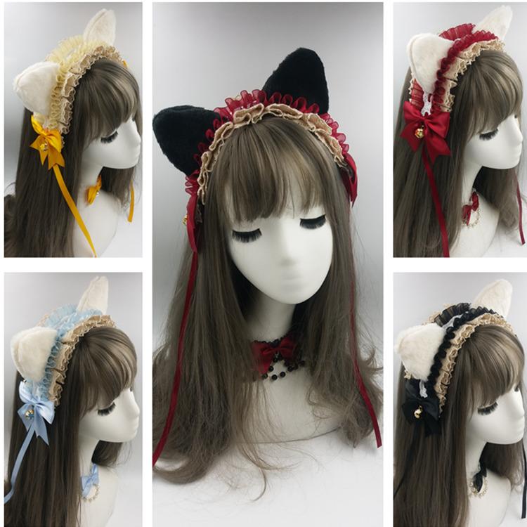 Cute cute hand made Lolita cat ears fox ears hair jewelry original Lolita hair band hair hoop KC headdress