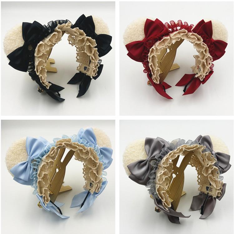 Lolita Lolita bear short rabbit ear lace hair hoop KC lovely sweet hairpin handmade head hoop hair ornament