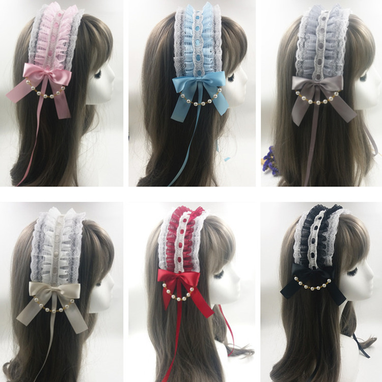 Lolita lace snow yarn pearl Butterfly Hair Band Japanese soft sister cute mother loli maid sweet KC hair jewelry