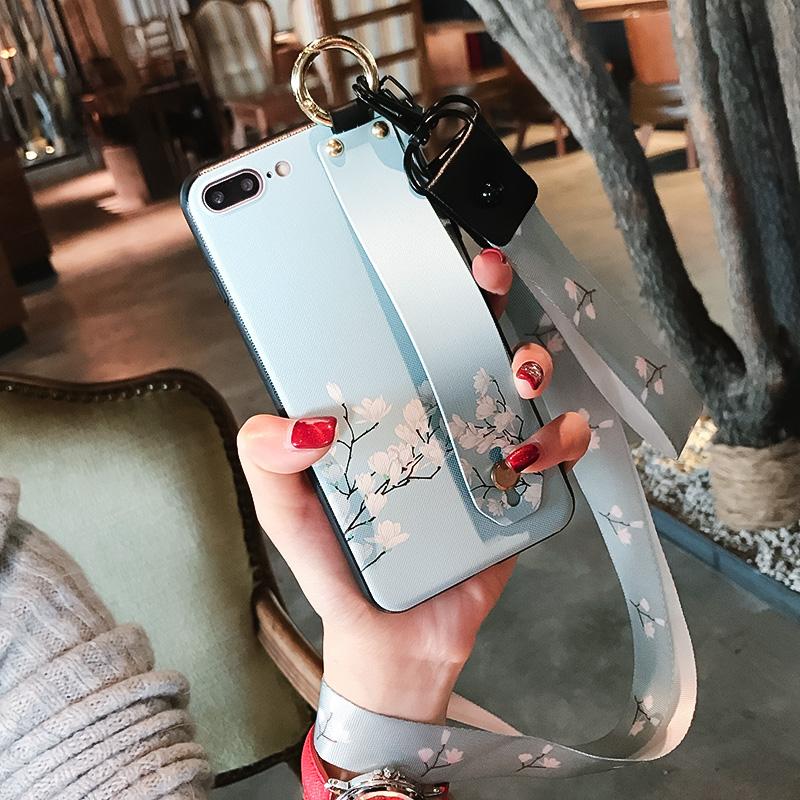 腕带碎花小米8手机壳6x硅胶5x防摔5s创意5c挂绳支架6全包新女款潮