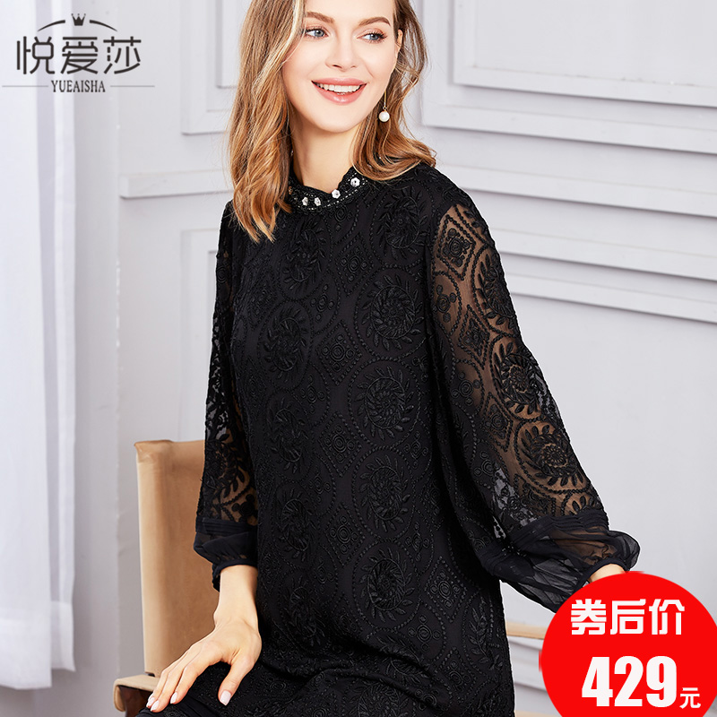 Black lace skirt silk silk silk dress straight tube heavy industry embroidery new summer mother size 2019