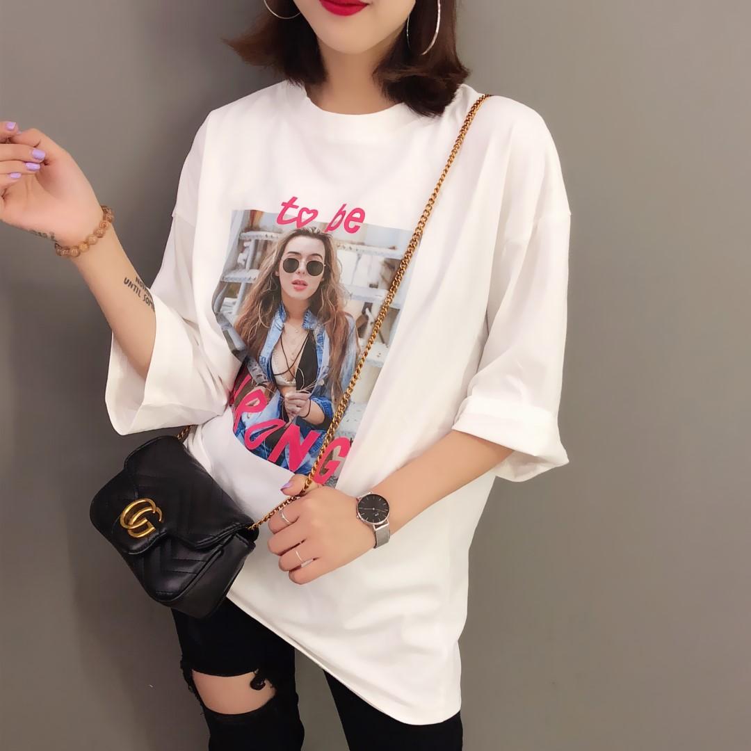 2018早秋新品韩国东大门新款女孩图案字母印花宽松中袖五分袖T恤