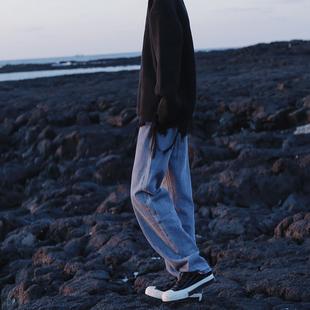 衣疫 2色 黑/水洗蓝 复古直筒阔脚牛仔裤宽松大裤子