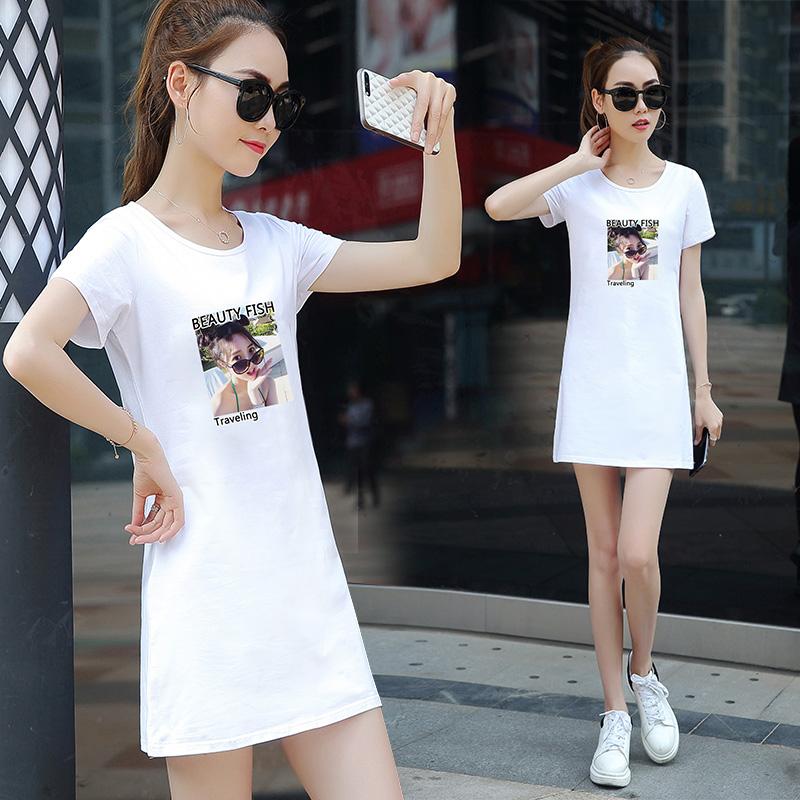 纯棉短袖中长款t恤女宽松显瘦2019夏季新款韩版半袖体恤裙上衣服