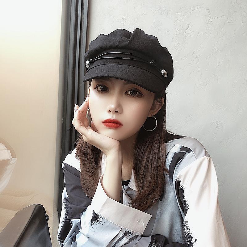 帽子女夏季英伦韩版潮人网红贝雷帽百搭日系气质海军帽休闲鸭舌帽