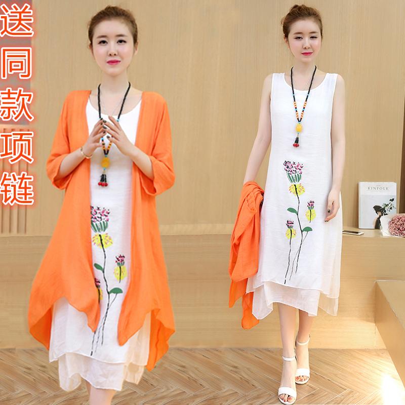棉麻连衣裙女装中长款2018夏季新款民族风亚麻两件套宽松套装裙子