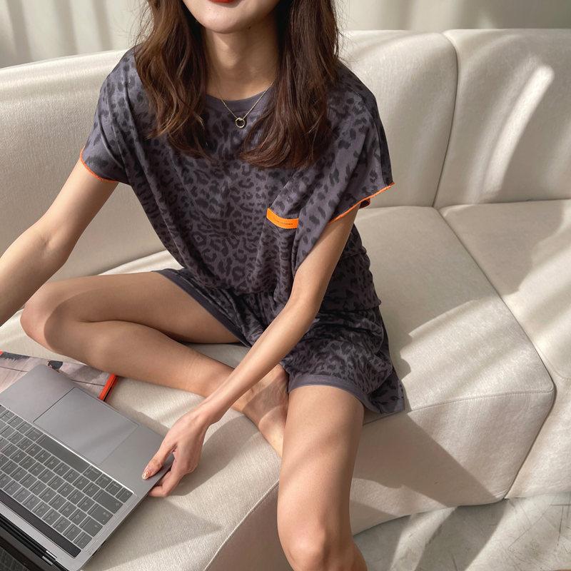 豹纹睡衣女2021年新款纯棉短袖短裤套装夏季家居服人棉韩版薄款夏