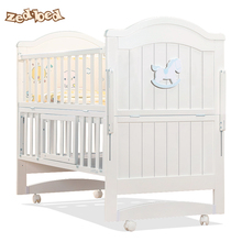 Zedbed Baby Bed Solid Wood Multifunctional European Baby BB Bed Cradle Bed for Children Stitching Big Bed