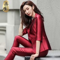 职业装气质女神范时尚红色西装外套女秋季新款韩版英伦风西服套装