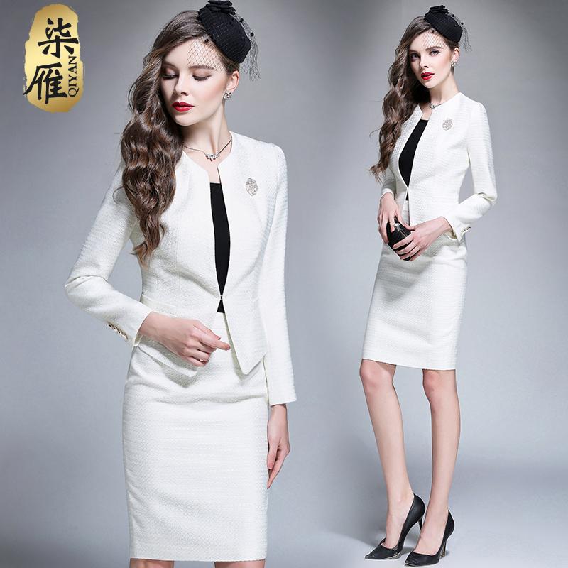 春季女装套装ol修身西装外套套裙