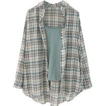 金大班静雅可盐可甜格子衬衫+纯色轻薄透气小背心吊带两件套装女