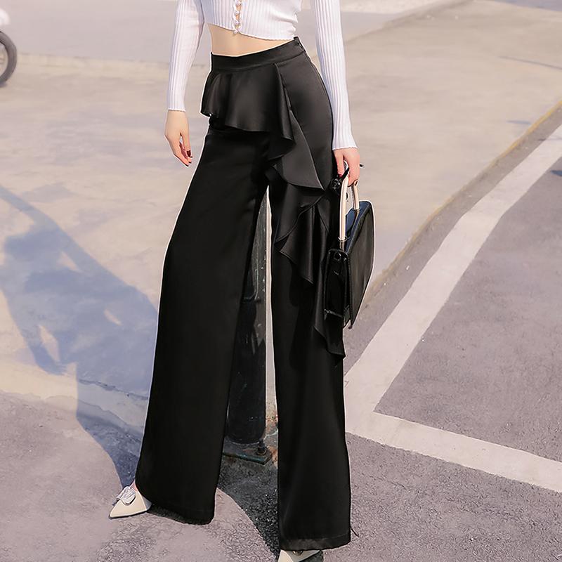 气质百搭裤子2021新款夏季洋气阔腿裤显瘦显高荷叶边长裤女裤潮