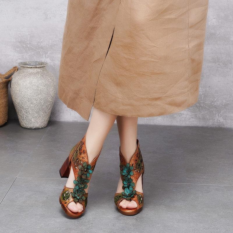 2021夏季新款民族风手工真皮高跟鞋女特色鱼嘴镂空凉鞋粗跟凉鞋潮