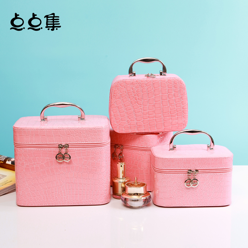點點集化妝包收納包大容量化妝箱手提化妝品箱韓國防水旅行整理盒